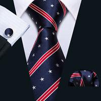 Mens Ties Silk Lot Set Blue Red Neck tie American Flag US flag Star Patriotic