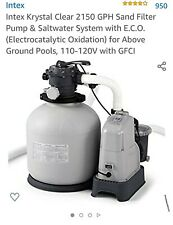 Intex 26679Eg 2,150 Gph Krystal Clear Saltwater System & Sand Filter Pump-used