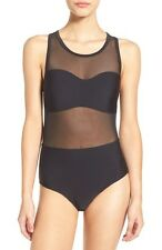 RVCA WOMEN'S IMAGINARY ILLUSION MESH ONE PIECE SWIMSUIT BLACK SMALL NEW! $75