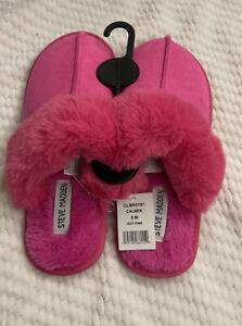 Women's Size 8 STEVE MADDEN Calmer Suede Faux Fur Slipper In Hot Pink