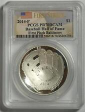2014 P PCGS PR70DCAM FIRST STRIKE $1 BASEBALL HALL OF FAME FIRST PITCH BALTIMORE
