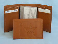 Dallas Cowboys Leather Trifold Wallet Brown 2