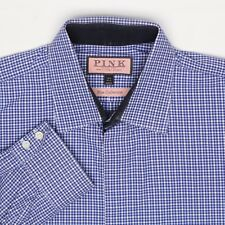 Thomas Pink Mens Dress Shirt 16.5 Check Blue Collection Button Front Long Sleeve