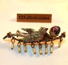 Emaille Brosche Vogel Blume Blüte Emaile old enamel brooch / BA 727