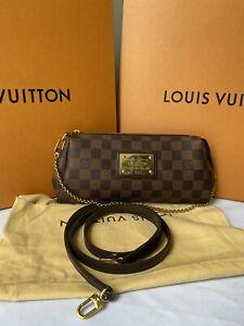 Louis Vuitton Eva Damier Ebene Clutch Shoulder Crossbody BagChain Crossbody Bag
