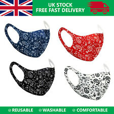 3D Face Mouth Mask Protection Cover Washable Reusable Paisley Print Design