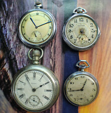 Lot of 4 Vintage Pocket Watches Elgin 18S, Art Deco Cool Waltham  Leroy & Fox NR