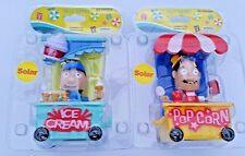 Lot of (2) Solar Powered Dancing Bobblehead Toys NEW - Ice Cream & Popcorn Cart