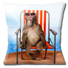 """FUNNY MONKEY ON HOLIDAY IN DECK CHAIR SAND PHOTO PRINT 16"""" Pillow Cushion Cover"""
