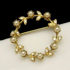 Vintage Circle Brooch Pin Faux Pearl Rhinestones Flowers Mid Century Gold Plated