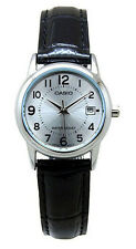 Casio Women's Analog Quartz Stainless Steel Black Leather Watch LTPV002L-7B