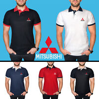 Mitsubishi Polo T Shirt COTTON EMBROIDERED Auto Car Logo Tee Mens Clothing Gift