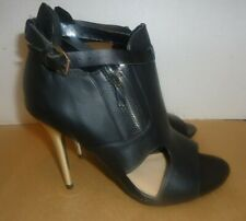 FOREVER 21 BLACK LEATHER BUCKLE ZIP UP OPEN TOE STRAPS HIGHHEEL SHOES SIZE 8
