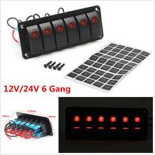 12V/24V 6 Gang Dual LED Circuit Breaker Rocker Switch Panel Car Marine Boat RV