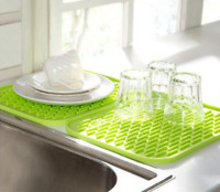 Kitchen Dish Sink Mat Non Slip Heat Resistant Silicone Rectangle Shape Accessory