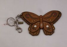 NWT COACH Large Butterfly BROWN STUDDED APPLIQUE Bag Charm Key Chain 58996