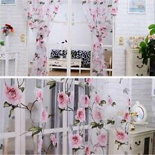 Room Divider Flower Sheer Voile Net Curtain Panel Header Top Window Curtain 1PC