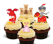 Princess & Knights, Kids Edible Cupcake Toppers StandUp Wafer Cake Decorations