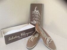 Auth Vintage Salvatore Ferragamo Beige Tan Suede Slip On Shoes size 9.5AA