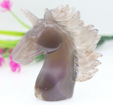violet gray crystal agate jade hand carved skull healing Unicorn horse head M400