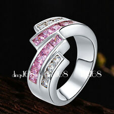 18k White Gold Filled Tarnish-Free 2-tone Cubic Zirconia CZ 16mm Wide Ring SZ7.5