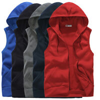 Men Casual Sleeveless Zip Up Hoodie Sweatshirt Sports Hooded Vest Coat Waistcoat