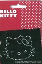 Toppa Strass termoadesiva viso Hello Kitty Cuore patch toppe adesive cm 6 x 4,5
