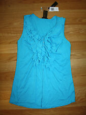 NWT Womens GRACE ELEMENTS Turquoise Blue Blouse Ruffle Tank Shirt Size L Large