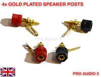 4x Gold Speaker Binding Posts Terminal - 4mm Sockets for Banana Plugs - 2 pair