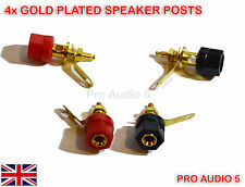 4x Gold Speaker Binding Posts Hex Terminal -4mm Sockets for Banana Plugs -2 pair