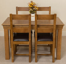 Small Oak Dining Table and Chairs French Rustic and Lincoln Oak and Leather