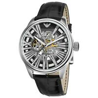 Emporio Armani AR4629 Meccanico Skeleton Automatic Leather Wrist Watch for Men