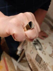 Herren Ring 585 Weiß/Gelb Gold mit Onyx und Diamant
