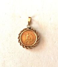 1945- DOS PESOS COIN IN SOLID 14K YELLOW GOLD ROPE BEZEL/PENDANT