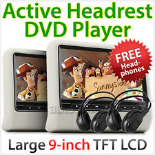"2 x 9"" Dual HD Headrest Pillow Rear Monitor Screen Display For Car DVD Player MK"