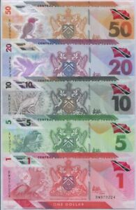 Trinidad & Tobago set 5 PCS 1 5 10 20 50 Dollar 2020/2021 Polymer P NEW UNC