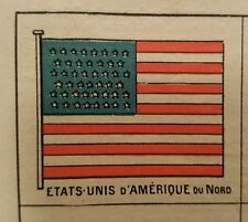 Antique 1899 Lithograph Drapeaux Flags USA Summer Olympics History Memorabilia