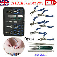 9pcs Jewellery Handmade Findings Beads Mini Pliers Tools Set Wire Cutters Kit