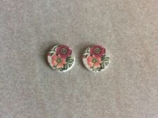 Wooden cabochons, 12mm, 2pcs, Pink Floral on White, Jewellery Making and Craft