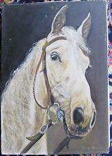 Pferd Schimmel Pferde Portrait  in Öl  signiert.  Suszynski    (wohl Polen )