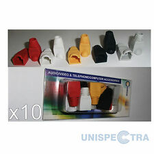 10 x Multicolor Cable Boots for RJ45 LAN Snagless Strain Relief