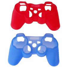 2 Stueck Silikon Gummi Haut Gel Case Deckung fuer Sony PS3 Kontroller Rot + A2J6