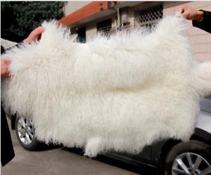 Genuine Natural Mongolian Lambskin Sheepskin Fur Wool Pelt Rug Curly Hair Carpet
