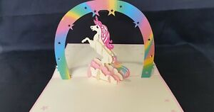 3D Rainbow Unicorn Pop Up Greeting Card.