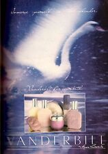 1985 Gloria Vanderbilt Bath Soap Perfume Fragrance Swan Vintage Print Ad 1980s