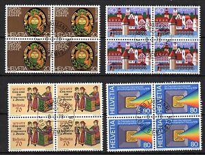 Suiza, año 1978, serie completo en bloque de cuatro, usado, Michel-€ 8,80 (K111)