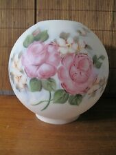 Hand Painted Roses Oil Lamp Shade Globe Gone With The Wind Vintage Signed
