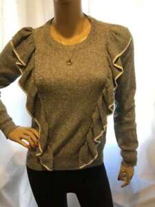 7/11 PREOWNED SILVER GREY WHITE TRIM FRILL LONG SLEEVED TOPSHOP JUMPER TOP 8