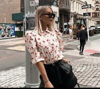 ZARA NEW WOMAN FLORAL PRINT BLOUSE PUFF-SLEEVES SHIRT Large REF. 7915/122