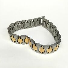 New SEIKO Gold Silver Two Tone Stainless Steel Watch Band Ladies 11mm Vintage